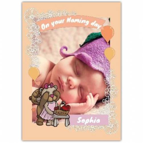 New Baby White Flowers And Balloons  Card