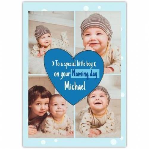 New Baby Boy Blue Heart  Card
