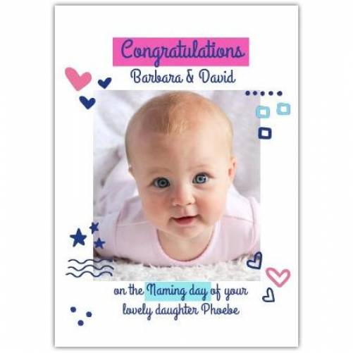New Baby Girl Congratulations Shapes Card