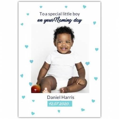 New Baby Boy Blue Hearts  Card