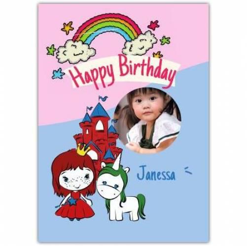 Happy Birthday Princess Unicorn Rainbow And Castle  Card