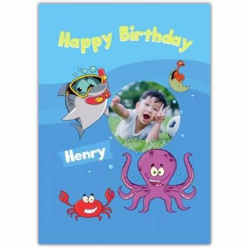 Happy Birthday Shark Octopus Crab In The Sea Card