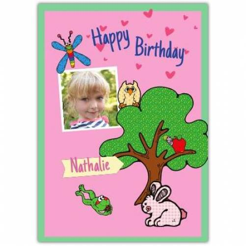 Happy Birthday Tree Bunny Owl Frog Pink Card