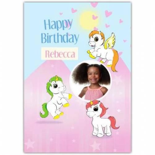 Happy Birthday Unicorns Pink Background  Card
