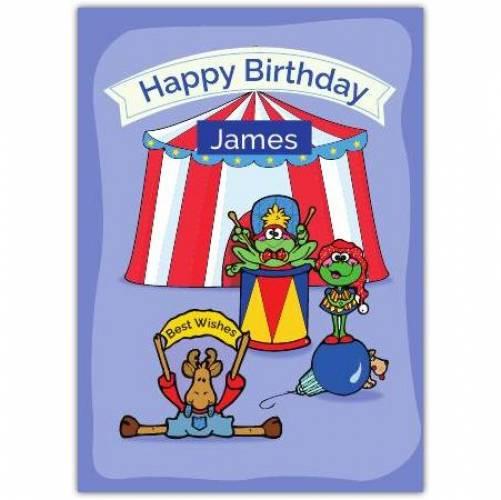 Happy Birthday Animal Circus  Card