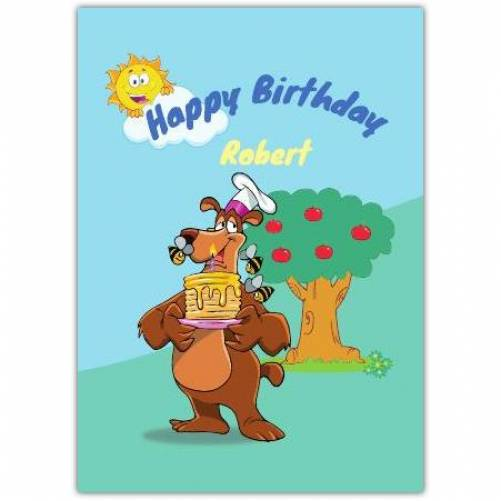 Happy Birthday Bear With Pancakes And Bees Card