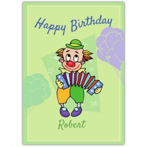 Happy Birthday Clown Playing Accordion  Card