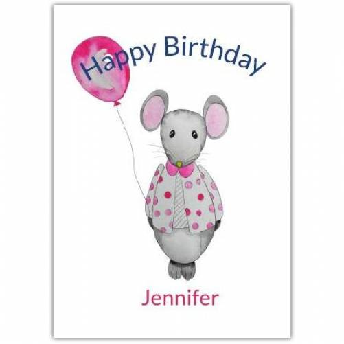 Happy Birthday Mouse Holding Balloon Card