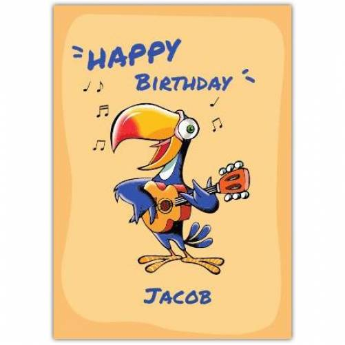 Happy Birthday Parrot Playing Guitar  Card