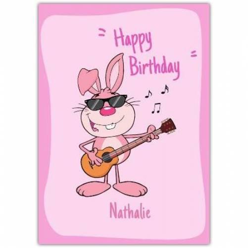 Happy Birthday Rabbit Playing Guitar  Card