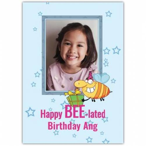 Happy Belated Birthday Bee Holding Present Card