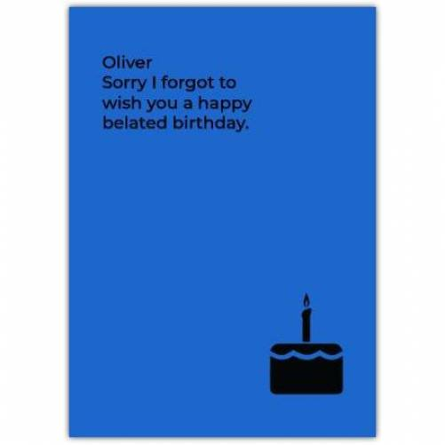 Happy Belated Birthday Cake Silhouette Blue Background Card