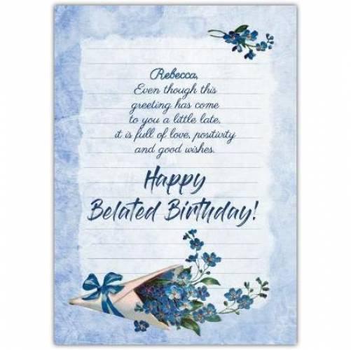 Happy Belated Birthday Blue Flower Bouquet Card