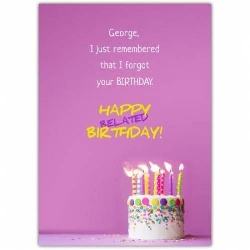 Happy Belated Birthday Pink Background And Birthday Cake With Candles Card