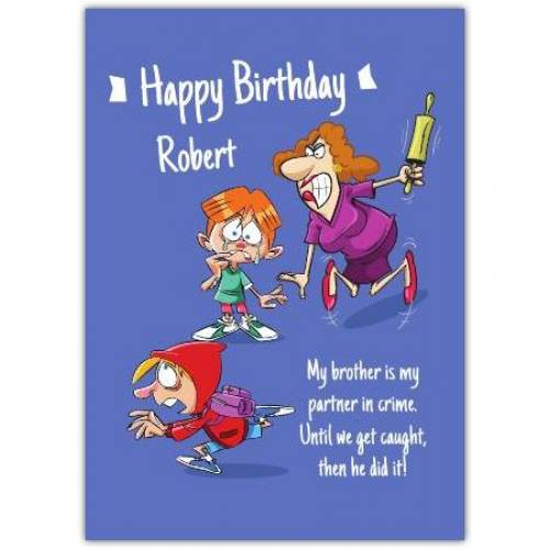 Happy Birthday Blue Background Brothers Humor Card