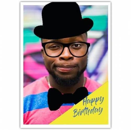 Happy Birthday Big Photo Hat And Bowtie  Card