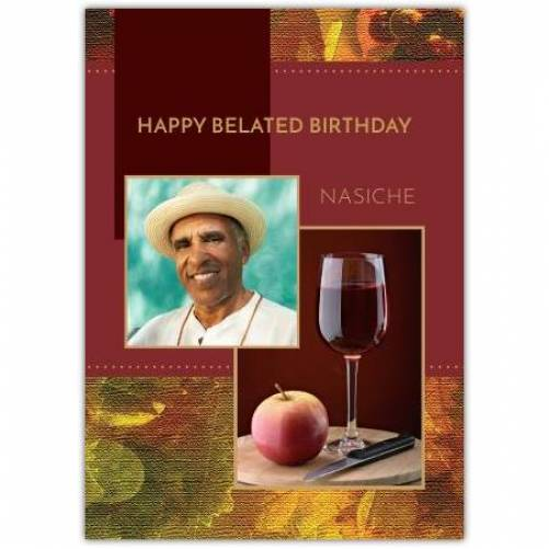 Happy Belated Birthday Red Background Wine And Apple Card