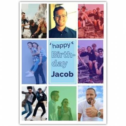 Happy Birthday 8 Photos Colourful Card