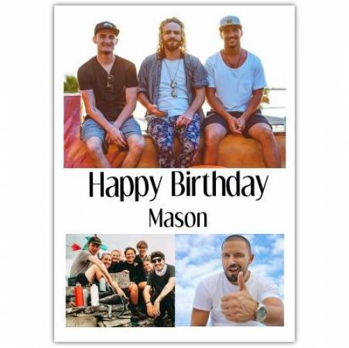 Happy Birthday 3 Photos White Background  Card