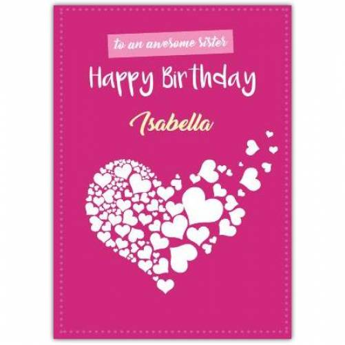 Happy Birthday Pink Background Big Heart Made With Smaller Hearts Card