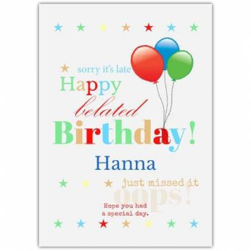 Happy Belated Birthday Stars And Balloons Card