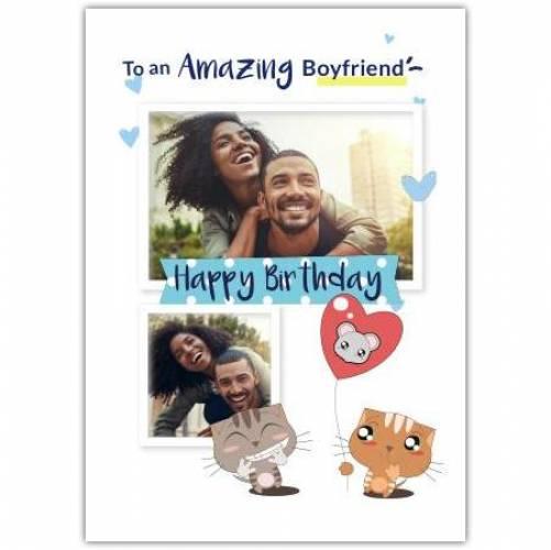 Happy Birthday Cats And Heart Balloon  Card