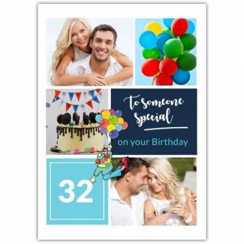 Happy Birthday Balloons And Cake With Photos Card