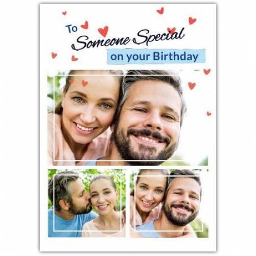 Happy Birthday 3 Photos With Red Hearts Card