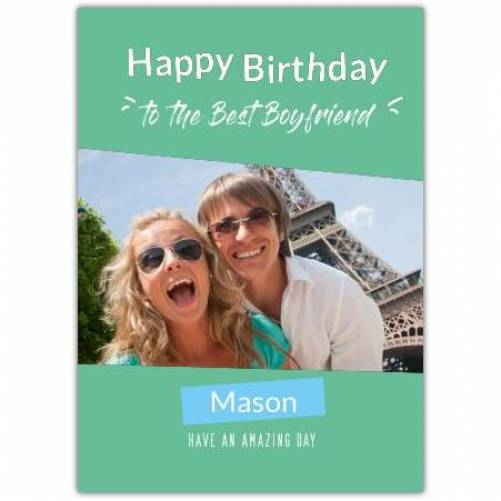 Happy Birthday Big Photo With Green Background Card