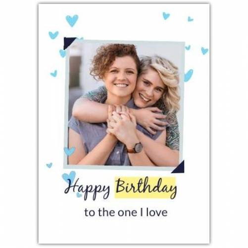 Happy Birthday Photo With Blue Hearts Card