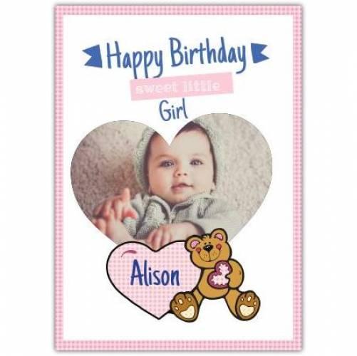 Happy Birthday Heart And Teddy Bear Card
