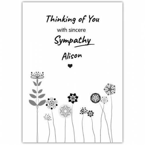 Sympathy With Flowers  Card