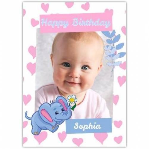 Happy Birthday Lots Of Hearts And Cute Elephant  Card
