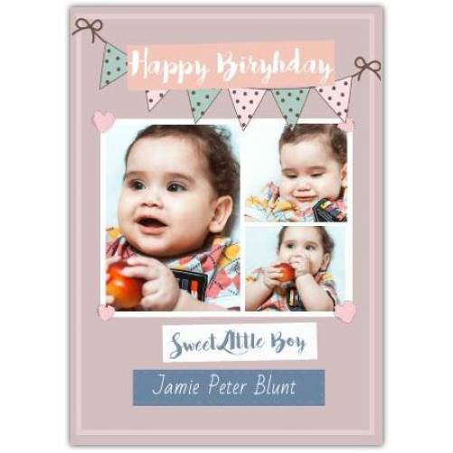 Happy Birthday With Pink Banner And Hearts Card