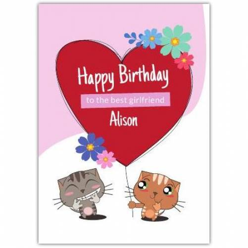 Happy Birthday Cat Giving Other Cat Big Heart Balloon  Card