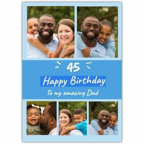 Happy Birthday Blue With 5 Photos Card