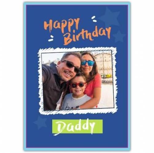 Happy Birthday Dark Blue Background White Frame  Card