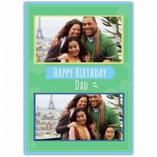 Happy Birthday Green Background With 2 Photos Card