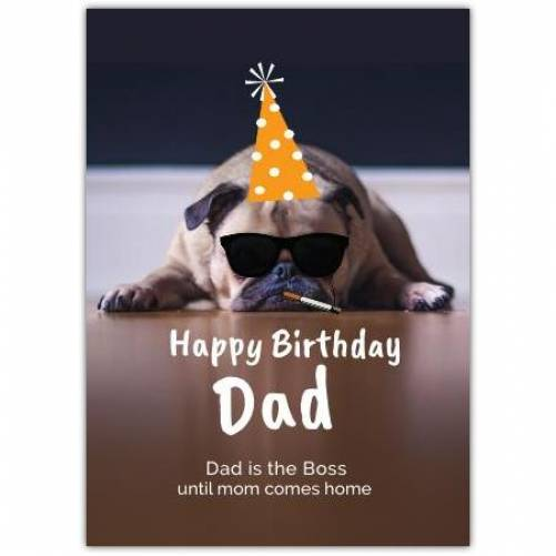 Happy Birthday Dog With Aprty Hat And Cigarette Card