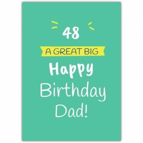 Happy Birthday Green Background Big Text Card