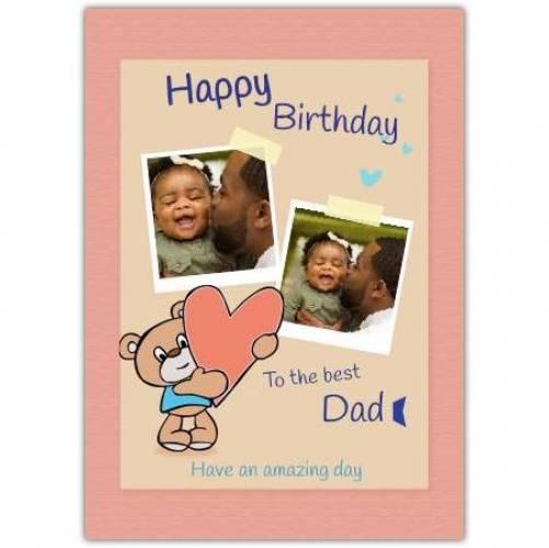 Happy Birthday Bear With Big Heart Card