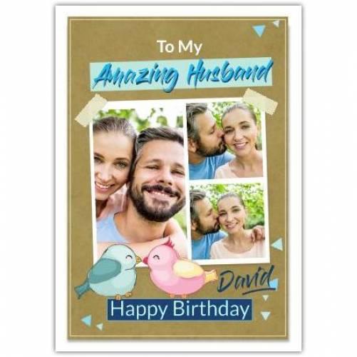 Happy Birthday Birds Kissing  Card
