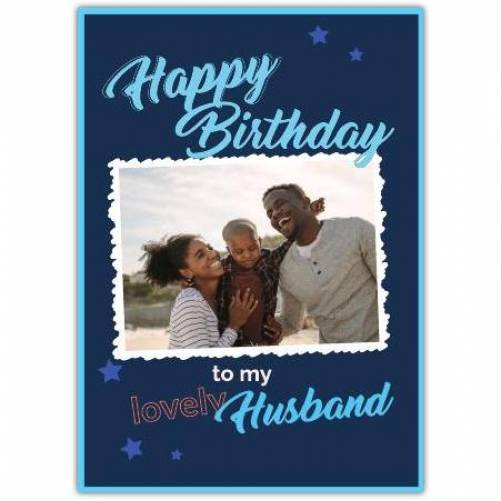 Happy Birthday Blue Stras And White Frame  Card