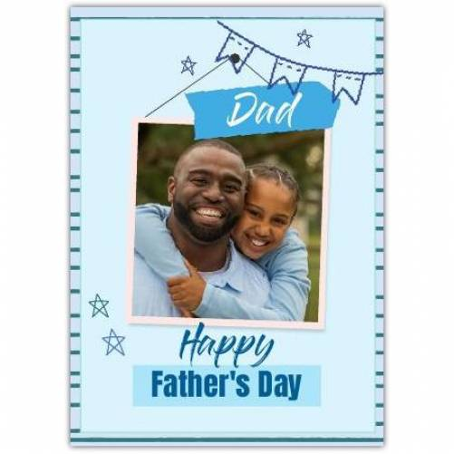 Happy Father's Day Blue Banners And Stars  Card