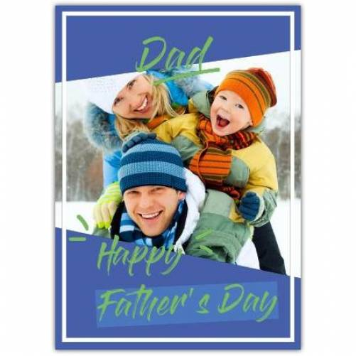 Happy Father's Day Blue And Green  Card