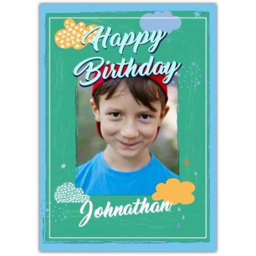 Happy Birthday Green Background With Clouds  Card