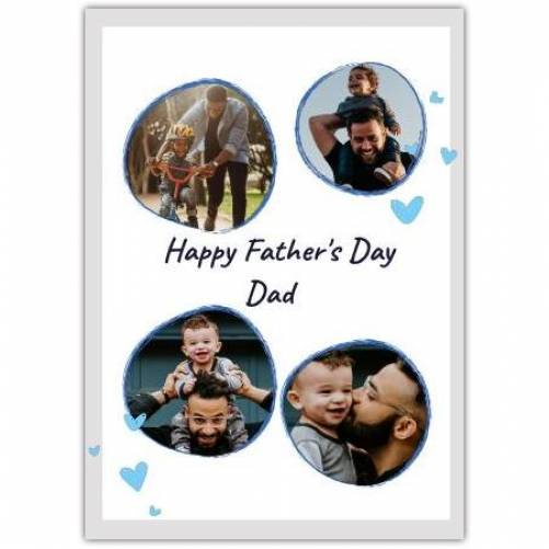 Happy Father's Day 4 Frames With Blue Hearts Card
