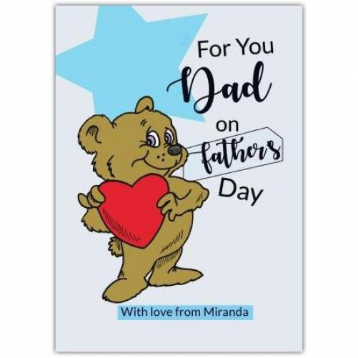 Happy Father's Day Brown Bear With Heart Card