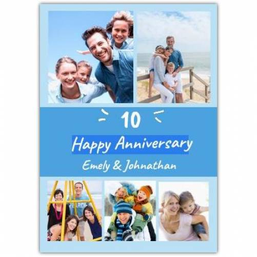 Happy Anniversary Blue With 5 Frames  Card