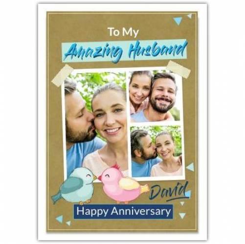 Happy Anniversary Birds Kissing Card